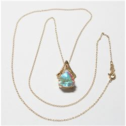 """Lady's 14K Yellow Gold Mystic Quartz Pendant on 18"""" Chain with Spring Ring Clasp."""