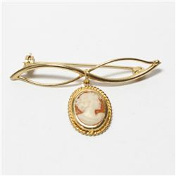 """Lady's Edwardian 9K Yellow Gold Cameo Brooch.  Length of the brooch measures 1"""" long by just under 2"""