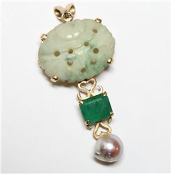 """Vintage 14K Yellow Gold Jade, Emerald, Pearl Pendant.  Pendant measures 1  3/4"""" in length by 3/4"""" in"""