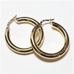 Pair of 14K Yellow Gold Hinged Hoop Earrings. Total weight of 3.10 grams.