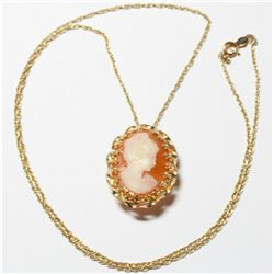 """Antique 14K Yellow Gold Cameo Pendant/Brooch on 20"""" Chain. Total weight of 5.26 grams."""