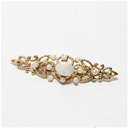 """Lady's Vintage 10K Yellow Gold Opal Brooch.  Length of the brooch measures just under 2"""" in length w"""