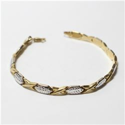 """Lady's 10K Yellow & White Gold Fancy Link Bracelet with Lobster Clasp.  Bracelet measures 7 1/2"""" in"""