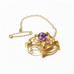 """Lady's Antique 14K  Yellow Gold Amethyst Brooch with Safety Chain. Brooch measures 1"""" wide by 3/4"""" l"""