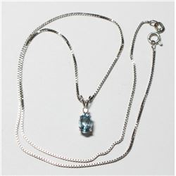 "Lady's 14K White Gold Aquamarine & Diamond Pendant on 16"" Box Link Chain."