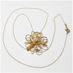 """Lady's 14K Yellow Gold 3-Dimensional Pearl Pendant on 17"""" Chain with Spring Ring Clasp."""