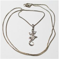 """10K White Gold Lizard Pendant with Diamond Accents on 20"""" Chain with Lobster Claps."""