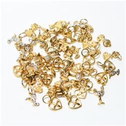 Lot of Gold-Tone Sterling Silver Charms/Pendants.  You will receive 55 charms/pendants in this lot.