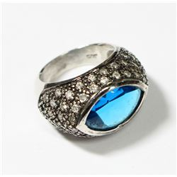 Sterling Silver 'All seeing Eye' Pave Style Ring - Size 7. This statement rings fits a size 7. Ring