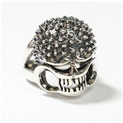 Solid Sterling Silver Textured Skull Ring - Size 7. This statement rings fits a size 7. In wonderful