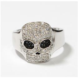Solid Sterling Silver Pave Style Skull Ring with Expandable Band. This statement rings contains an e