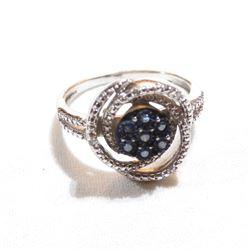 Lady's JWBR India Sterling Silver Diamond & Blue Diamond Cluster Ring. Size 9