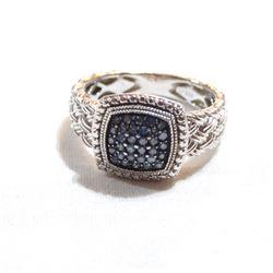 Lady's JWBR India Sterling Silver Diamond & Blue Diamond Cluster Ring. Size 10