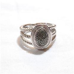 Lady's JWBR India Sterling Silver Diamond &Green Diamond Cluster Ring. Size 9