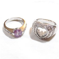 Pair of Lady's Sterling Silver Cubic Zirconia & Gemstone Rings - Size 8 & Size 9. 2pcs.