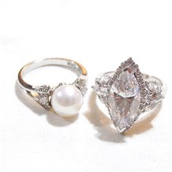 Pair of Lady's Sterling Silver Cubic Zirconia & Pearl Rings - Size 6