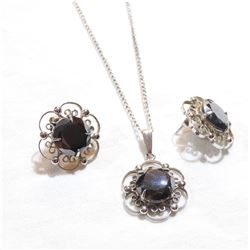 """Sorrento Sterling Silver Hematite Earrings and Necklace set. Chain measures 16"""" in length."""