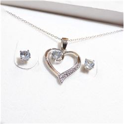 Sterling Silver Aqua Marine Heart Pendant Necklace & Stud Earrings Set.