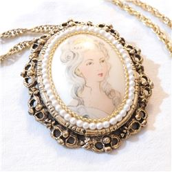 """Vintage REAL EGGSHELL, Hand Painted Portrait Pendant on Gold Tone 23.5"""" Chain."""
