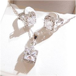 Lady's Sterling Silver Cubic Zirconia Pendant and Lever-back Earrings Set.