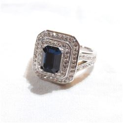 Lady's Sterling Silver Stone Accented Statement Ring - Size 6 1/4.