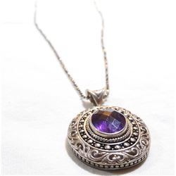 """Lady's Sterling Silver Amethyst Pendant on 19.5"""" Beaded Chain."""