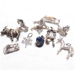 Vintage Sterling Silver Charm Lot.  You will receive 10 Different Charms weight a total of 30.07 gra