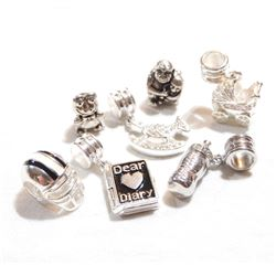 Lot of Persona Sterling Silver Charms.  You will receive 7 Different Charms in this lot with a total