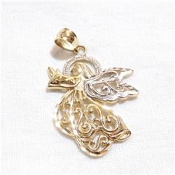 14K Yellow & White Gold Open-work Angel Pendant.  Weight of 1.25g.
