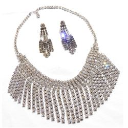 Lady's Vintage Silver-tone Claw set Rhinestone Bib Necklace with Matching Earrings. 2pcs.