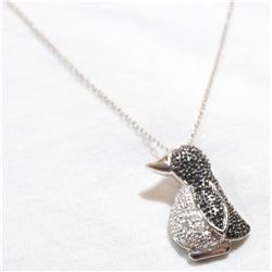 """Sterling Silver Penguin Pendant with Diamond Accents on 18"""" Chain."""