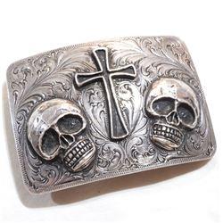 SILVER KING sterling silver Custom Belt Buckle.  Belt buckle has a personalize message engraved ' Ha