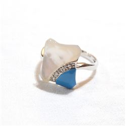 Lady's 14K White Gold Mother-of-pearl, Diamond & Turquoise Statement Ring - Size 6.5