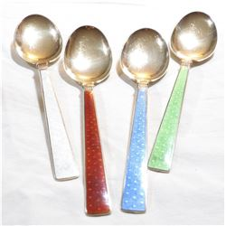 """TH. MARTHINSEN- Norway Sterling Silver 6 1/4"""" Teaspoon Set with Enamelling.  You will receive a set"""