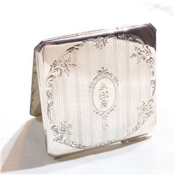 """Vintage BIRKS Sterling Silver Etched Compact with Monogram A.M.S.  Compact measures 2 1/2"""" x 2 1/2"""""""