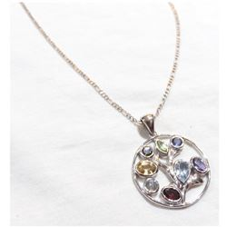 """Lady's Sterling Silver Gemstone Tree Pendant on 19"""" Chain."""