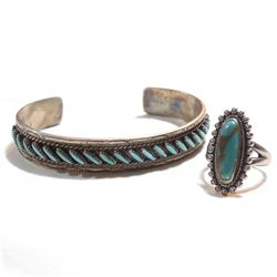 Sterling Silver & Turquoise Ring & Cuff Bracelet Set.  Cuff bracelet is signed M.U. Besselente, and