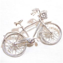 Sterling Silver Mechanical Bicycle Brooch.  Tires of the bike spin smoothly and contain a total weig