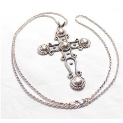 """Large Sterling Silver Cross Pendant on 30"""" Sterling Silver Rope Chain.  Cross measures 4"""" in length"""