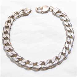 """Sterling Silver 9mm Curb Link Bracelet with Lobster Clasp.  Measures Just over 9"""" in length with a t"""