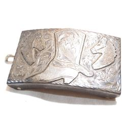 """Vintage Mexico Sterling Silver Belt Buckle signed RMG.  Buckle measures 3 1/4"""" long by 2"""" wide with"""