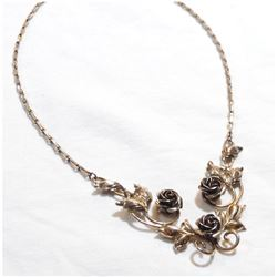 """Lady's Sterling Silver BOND BOYDE Floral Lavelier style necklace. Measures approx.. 15.5"""" in length"""