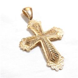 """Large 14K Yellow Gold Textured Cross Pendant.  Pendant measures 2 1/4"""" in length by just under 1.5"""""""