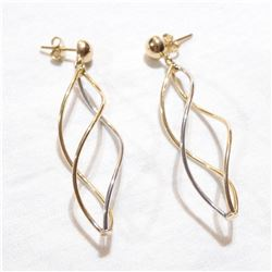 Lady's 14K Yellow & White Gold Spiral Drop Earrings. Total weight of 4.25 grams.