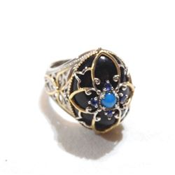 Lady's Custom Sterling Silver with Gold Accented Gemstone Statement Ring.  Size 9