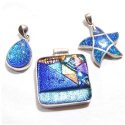 Lot of Sterling Silver Glass/Stone Accented Fashion Pendants. Total weight of 3 pcs is 48.46 grams.