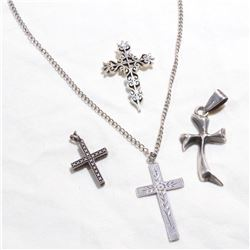 """Estate Lot Vintage Sterling Silver Cross Pendants. One comes with a 18"""" Chain.  Total weight of 22.7"""