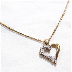 """Lady's 10K Yellow Gold Diamond Heart Pendant on 18"""" Chain. Total weight of 4.28 grams."""