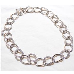 Lady's Sterling Silver Stone Accented Circular Link Necklace with slide clasp and Safety Catch.  Tot