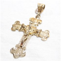 Large 14K Yellow Gold Crucifix Pendant.  Total weight of 3.64 grams.